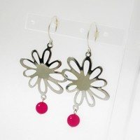 Fuchsia Glass Earrings Silver Plated Daisies On Sterling Silver Handcrafted Earwires | Luulla