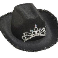 Black Cowboy Cowgirl Tiara Felt Light up Princess Hat