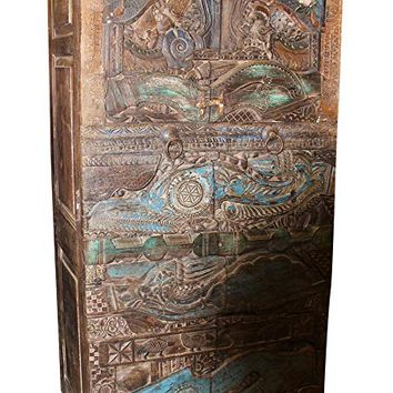 Mogul Interior Antique Armoire Architectural Wood Carving Teal Cabinet Original Double Door
