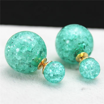 2016 new fashion brand jewelry double side Christmas stud earrings for women clear beads statement gift earrings free shipping
