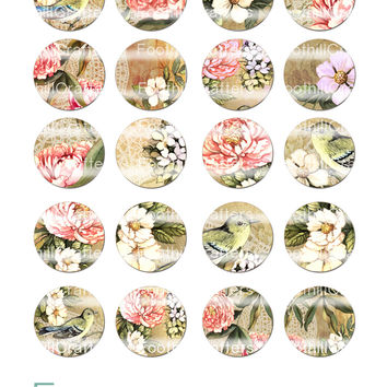 "Shabby Chic 1.5"" Circles, Printable Digital Collage Sheet, Flowers, Bird, Lace, Craft Supplies, Jewelry Making, Decoupage, Pendants, Magnets"