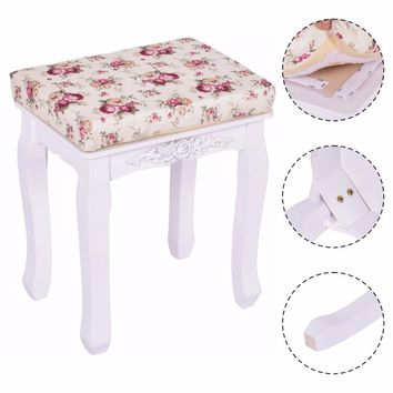 Modern White Vanity Wood Dressing Stool Padded Chair Makeup Ottoman