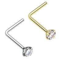 Showlove 2pcs L Shape Zircon Nose Ring Studs Prong Set Surgical Steel Nose Piercing Body Jewelry