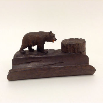 Black Forest Carved Bear Inkwell and Pen Rest, Antique Treen Bear Carving, Hand-Carved Victorian Souvenir, Swiss German Desk Accessory