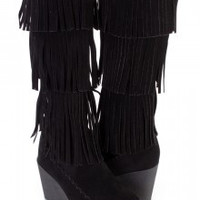Black Fringe Boot with Wedge Heel
