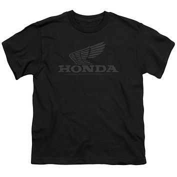 Honda Kids T-Shirt Distressed Vintage Grey Wing Black Tee