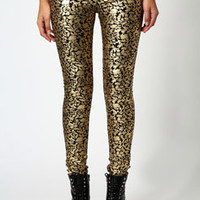 Michaela Metallic Gold Baroque Skinny Jeans