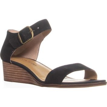 Lucky Brand Riamsee Ankle Strap Wedge Sandals, Black, 8.5 US
