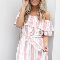 All Around Pink & White Striped Dress