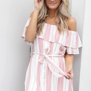 All Around Pink Striped Beach Dress