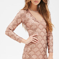 Sequined Mesh Bodycon Dress