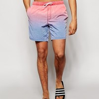 ASOS Swim Shorts With Acid Wash In Mid Length