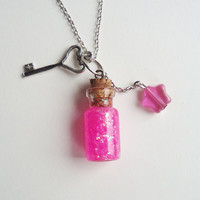 HOT PINK - glass bottle jewelry - with star and key