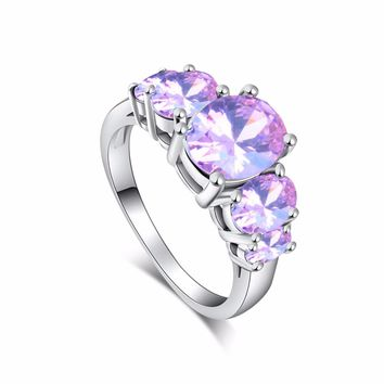 H:HYDE New Fashion Bague Women Jewelry Luxury Purple Colorful CZ Zircon Silver Color Bridal Wedding Promise Ring Size 7 8 9 10