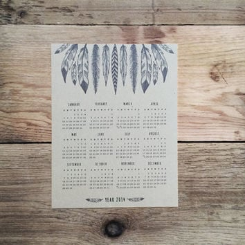 2014 Calendar - Feathers illustration Kraft card stock. Wall calendar. 1 Page. Home office. Christmas gift. 8.5 x 11