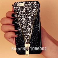 Hot Zipper Zip Crystal Bling Capa Cases for Samsung Galaxy S8 S8 Plus S7 S7 Edge S6 Edge S6 Note 5 4 iPhone 7 6 6 Plus 5s 5 4s 4