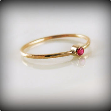 Ruby ring  recycled 14K gold ring with bezelset by junedesigns