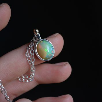 Ethiopian Opal 14K Gold and Sterling Necklace