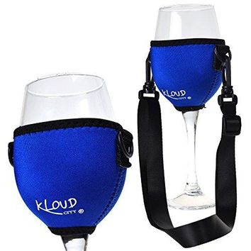 Beautyflier Assorted Colors Wine Glass Insulator  Drink Holder  Neoprene Sleeve with Adjustable Neck Strap For Wine Walk Purple