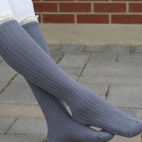Knitted leg warmers GRAY legwarmers Lace legwarmers Boot socks Knee high Socks knit boot topper knitted lace boot topper