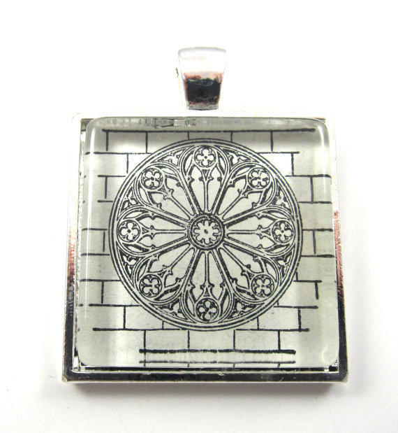 Vintage Dictionary Illustration Pendant, in Glass Tile Square
