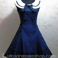 Navy College Wind Slim Bow Princess Dress