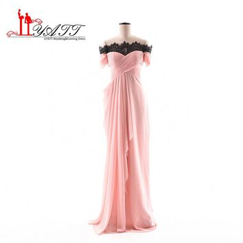 Liyatt Cheap Long Bridesmaid Dresses 2017 Short Sleeve Pink Chiffon Party Gowns With Lace Bride Maid Dresses for Weddings