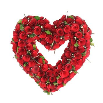 """13"""" Red Wooden Rose Floral Heart Shaped Artificial Valentine's Day Wreath"""