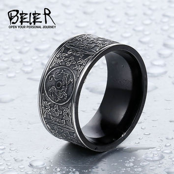 BEIER Cool Unique Animal Ring For Man Stainless Steel Do The Old Style Retro Gothic Chinese Style Man's Ring Jewelry Br8-386