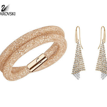 Swarovski Rose Gold Crystal STARDUST DELUXE SET Bracelet & Earrings #5184493
