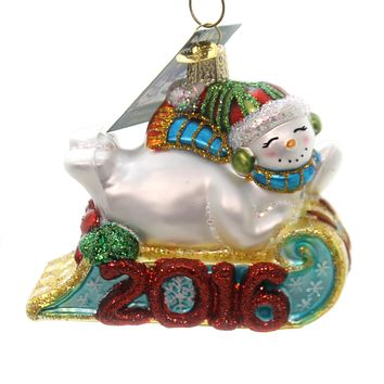 Old World Christmas 2016 Sledding Snowman Glass Ornament