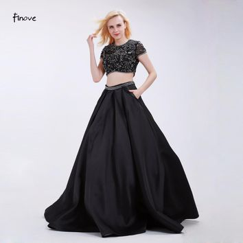 Finove Black Prom Dresses Two-Piece Set  Fashion Beading Crop Top Skirt with Pockets 2017 New Elegant Floor-Length Party Gowns