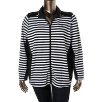 Lauren Active Womens Plus Panel Striped Jacket