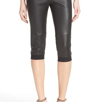 ATM Anthony Thomas Melillo Crop Stretch Leather Track Pants   Nordstrom