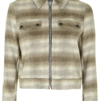 Premium Checked Harrington Jacket - Sand