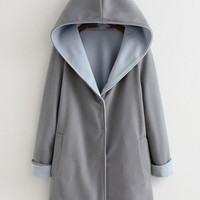 Long Sleeve Hooded Woolen Coat