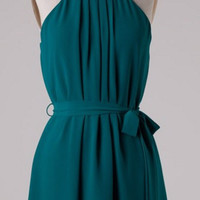 Pleated Halter Dress - Teal