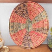 Vintage Colorful Woven African Basket ~ Jungalow Woven Grass Basket ~ Large Oval Basket