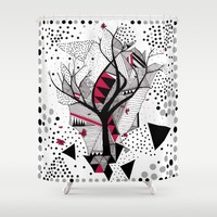 geometric abstract with a tree Shower Curtain by Marianna Tankelevich | Society6