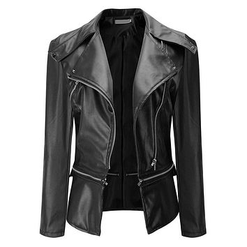 Soft Synthetic Leather Women Motorcycle Jacket 3 Colors Autumn Women Basic Coats Jaqueta Feminina Bomber Jacket Chaquetas Mujer