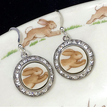 Royal Doulton Bunnykins Broken China Jewelry, Bunny Earrings Rabbit Lover Gift, Sparkly Earrings, Swarovski Crystal, Birthday Gift Her