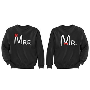 XtraFly Apparel Mr Mrs Red Bow Valentine's Matching Couples Pullover Crewneck-Sweatshirt