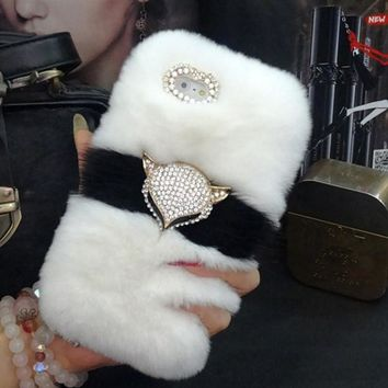 Luxury Bling Fox head Warm Soft Beaver Rabbit Fur Hair phone cases for iphone X 4S 5s 5C 6s 7 plus 8 plus protective phone back