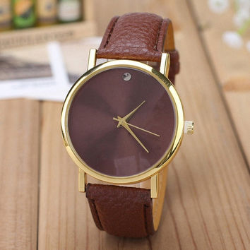 Women's Fashion Men's Watch Geneva PU Leather Band Wristwatch (Size: 2) = 1931703428