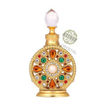 Diamante Gold Retro Antique Hollow Out Glass Perfume Bottle Empty Cosmetic Container Perfume Bottle