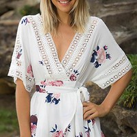 Field Of Dreams Floral Elbow Sleeve Crochet Trim Cross Wrap V Neck Cut Out Back Romper Playsuit - 3 Colors Available - Sold Out