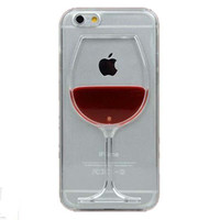 Hot sale Red Wine Cup Liquid Transparent Case Cover For Apple iPhone 4 4S 5 5S 6 6 Plus All Models Phone Cases Back Covers C034