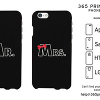 Mr and Mrs Bow Tie Matching Couple Black Phonecases - 365 Printing Inc