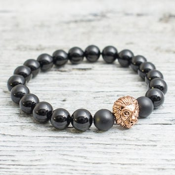 Black onyx beaded rose gold Lion head stretchy bracelet, made to order yoga bracelet, mens bracelet, womens bracelet