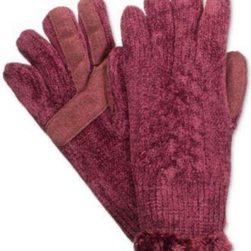 Isotoner Chenille Knit Gloves-One Size, Black,Tan or Burgundy Color